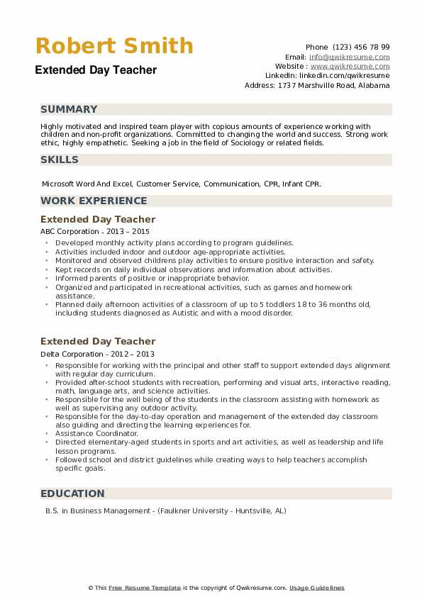 Extended Day Teacher Resume example