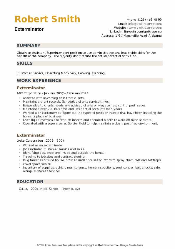 Exterminator Resume example