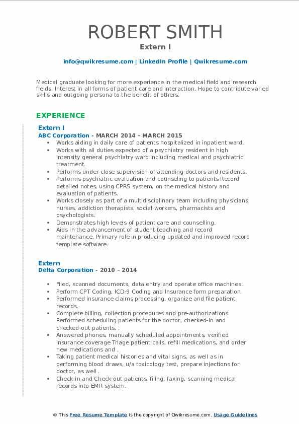 extern resume samples  qwikresume
