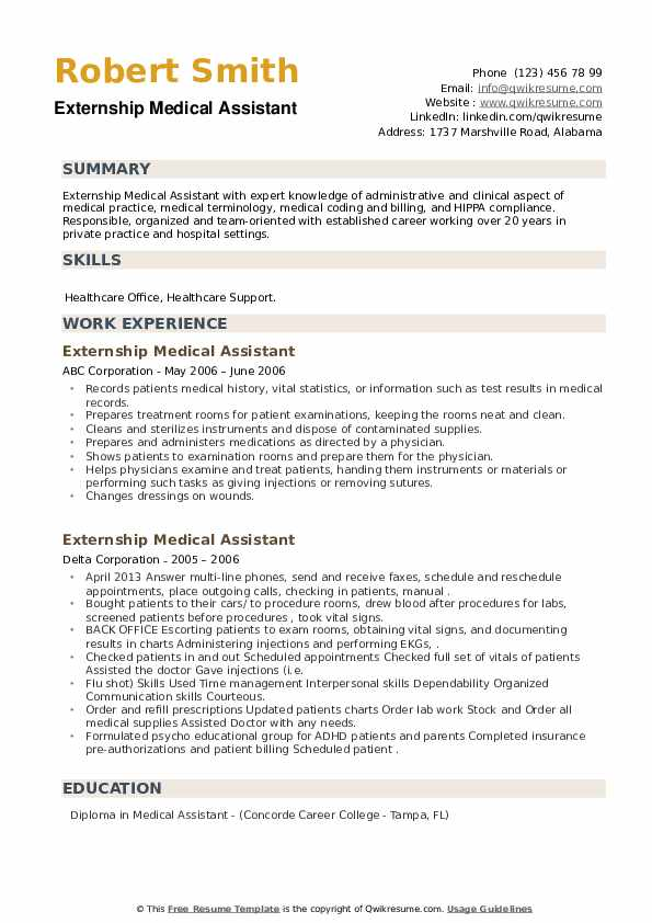 Externship Medical Assistant Resume example