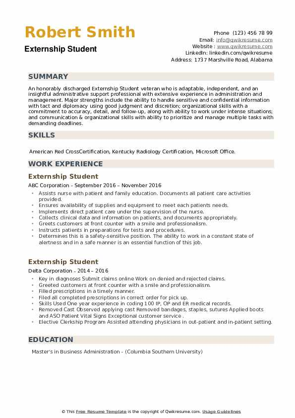Externship Student Resume example