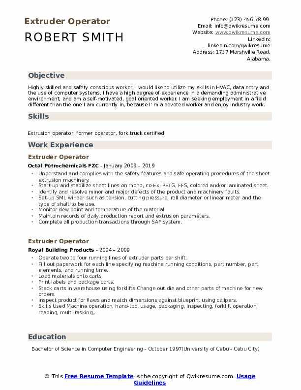 Extruder Operator Resume Sample