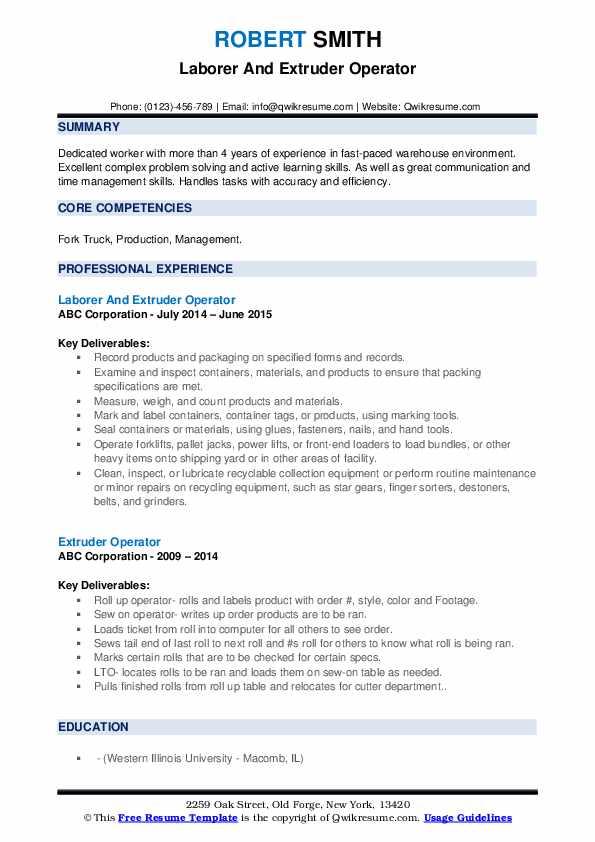 Laborer And Extruder Operator Resume Model