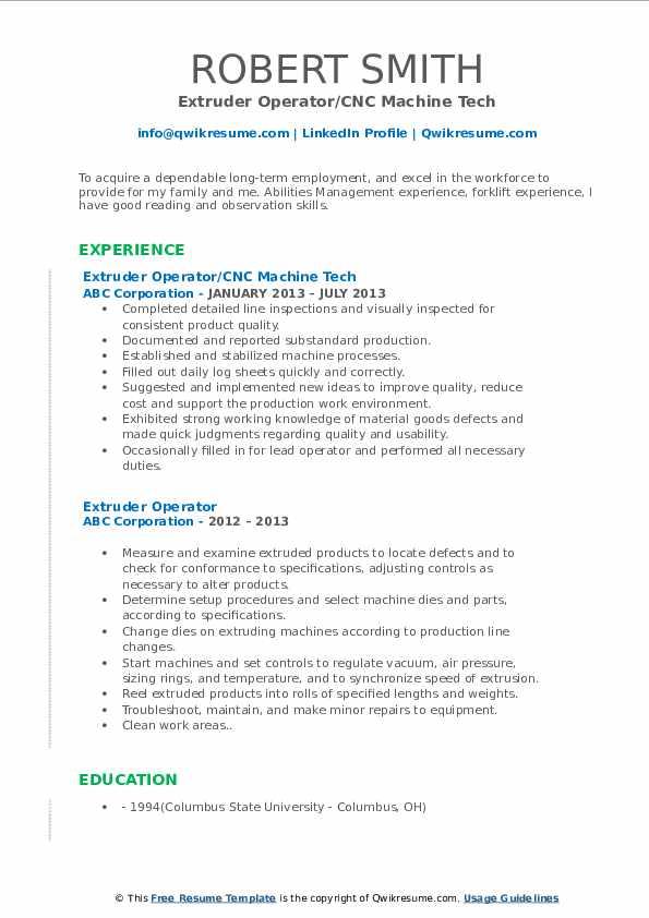 Extruder Operator/CNC Machine Tech Resume Template