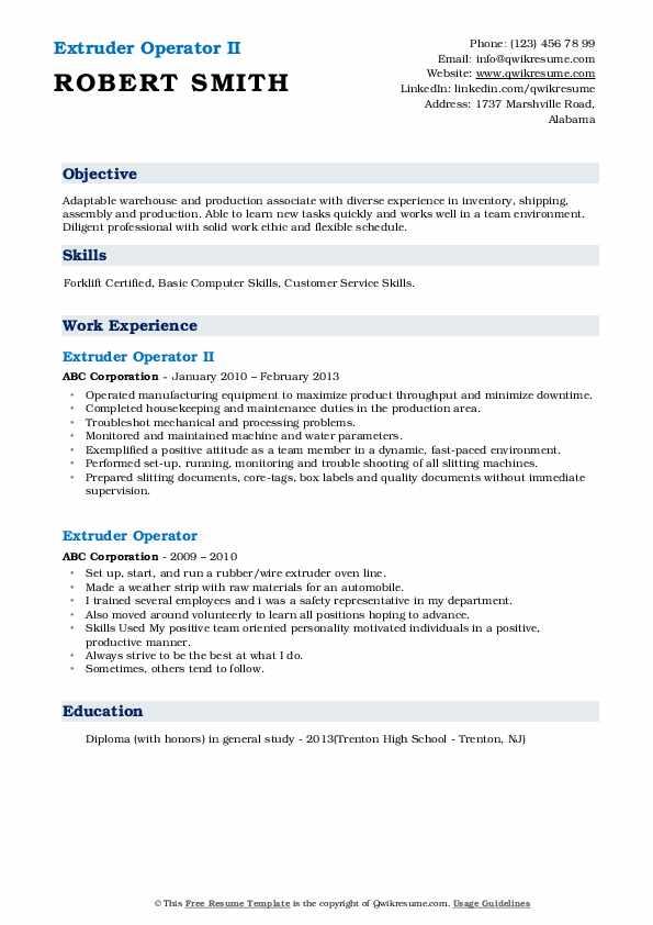 Extruder Operator II Resume Format