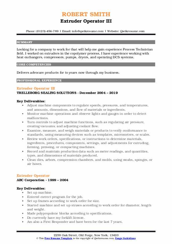 Extruder Operator III Resume Example