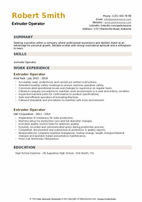 Extruder Operator Resume example