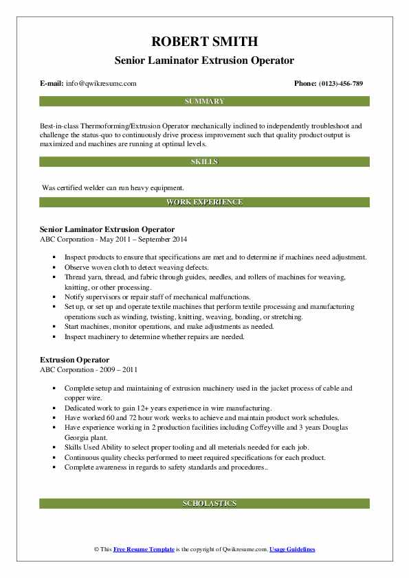 Senior Laminator Extrusion Operator Resume Template