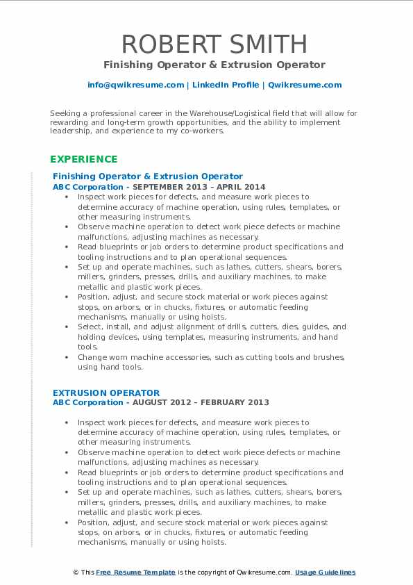 Finishing Operator & Extrusion Operator Resume Template
