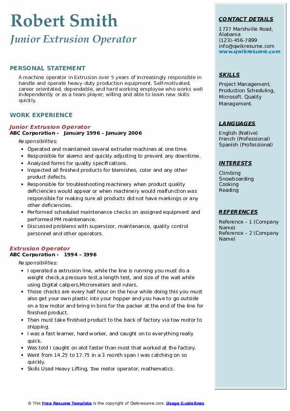 Junior Extrusion Operator Resume Template