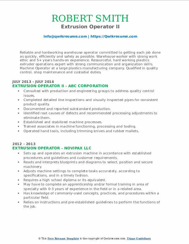 Extrusion Operator II Resume Sample