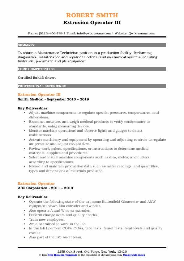 Extrusion Operator III Resume Example