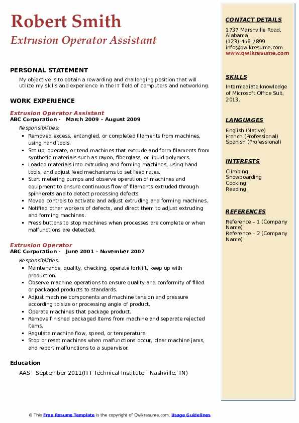 Extrusion Operator Assistant  Resume Template