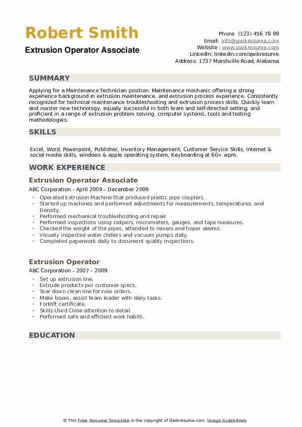 Extrusion Operator Associate  Resume Template