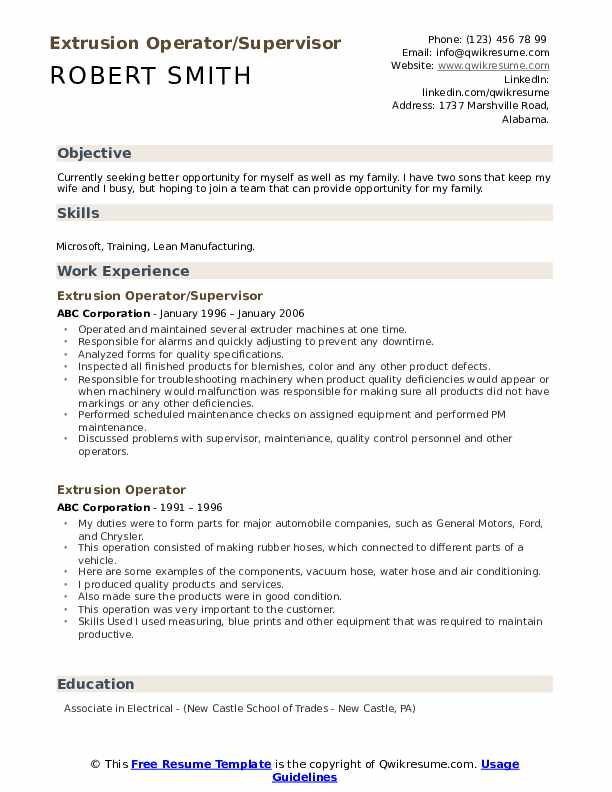 Extrusion Operator/Supervisor Resume Template