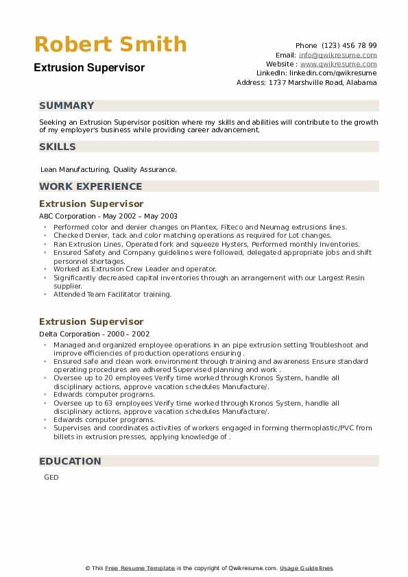 Extrusion Supervisor Resume example