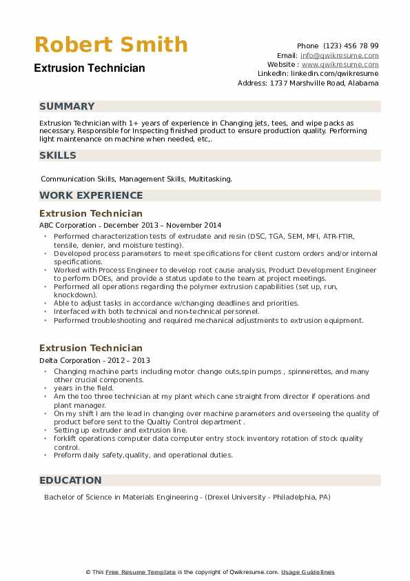Extrusion Technician Resume example
