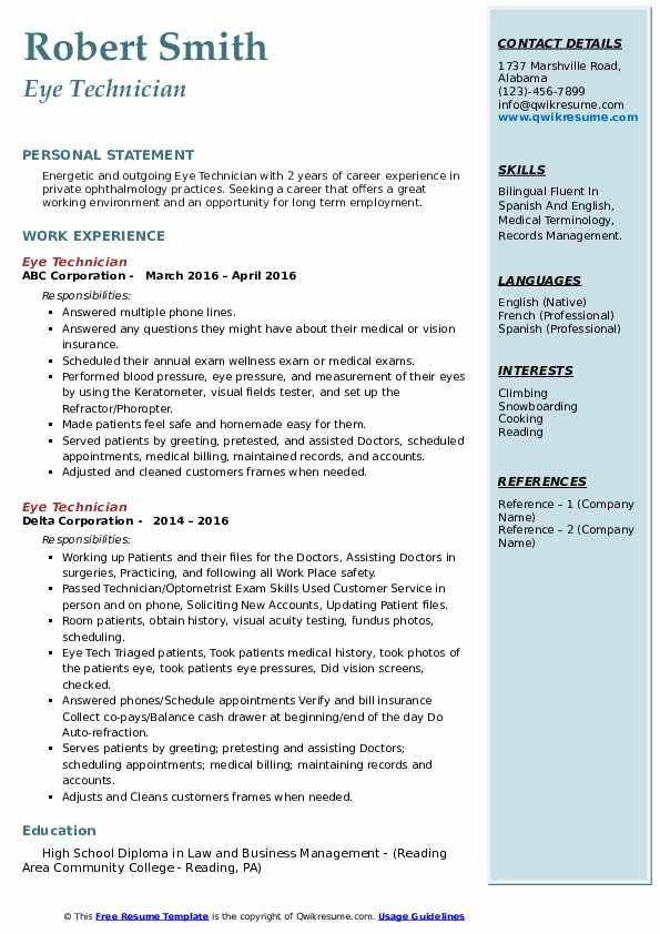 eye technician resume samples  qwikresume