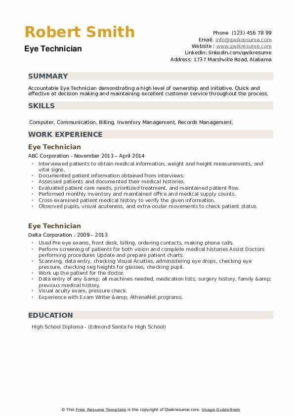 Eye Technician Resume example