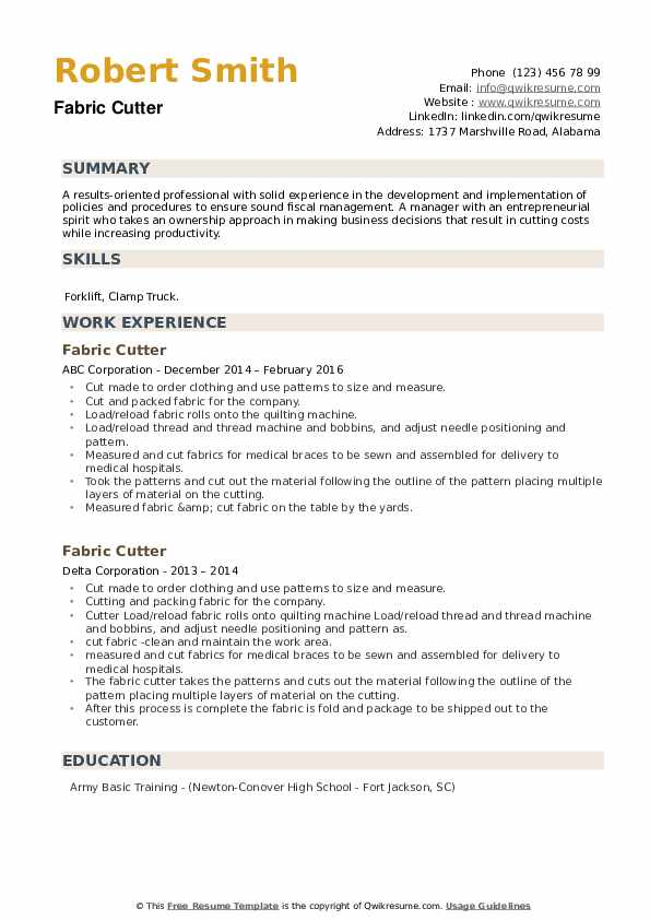 Fabric Cutter Resume example