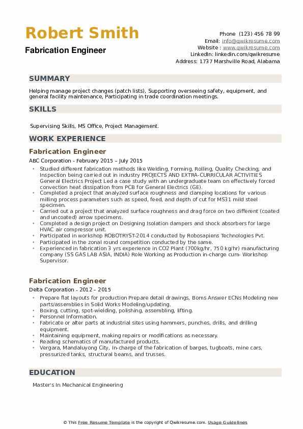 Fabrication Engineer Resume example