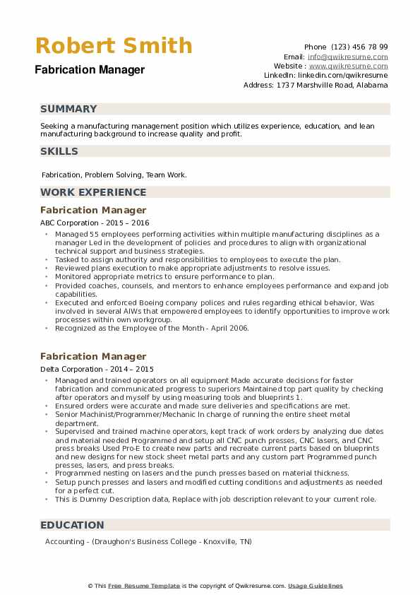 Fabrication Manager Resume example