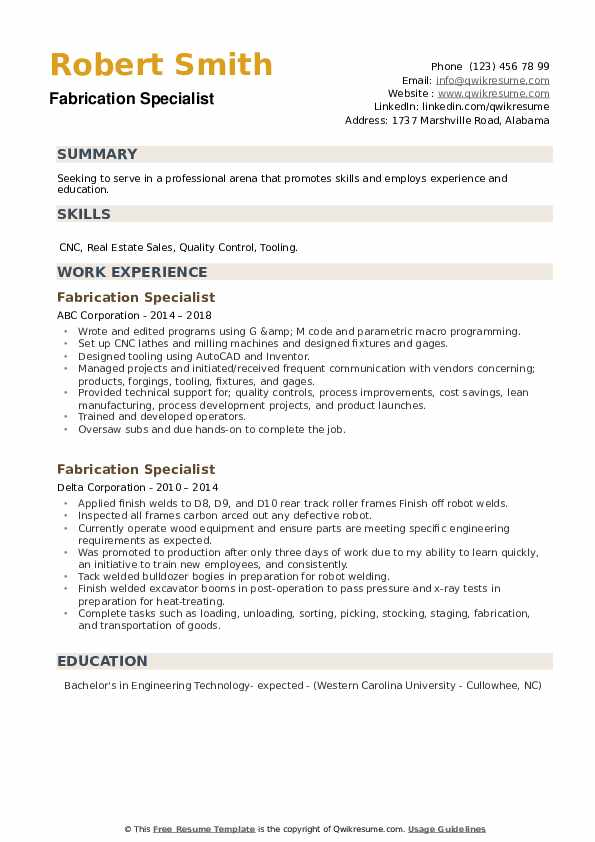 Fabrication Specialist Resume example
