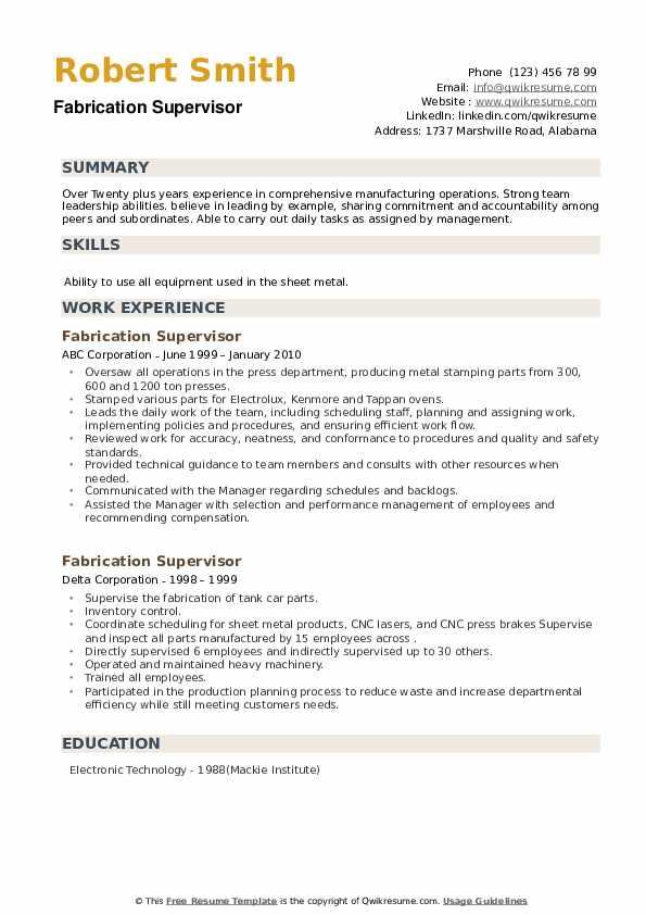 Fabrication Supervisor Resume example
