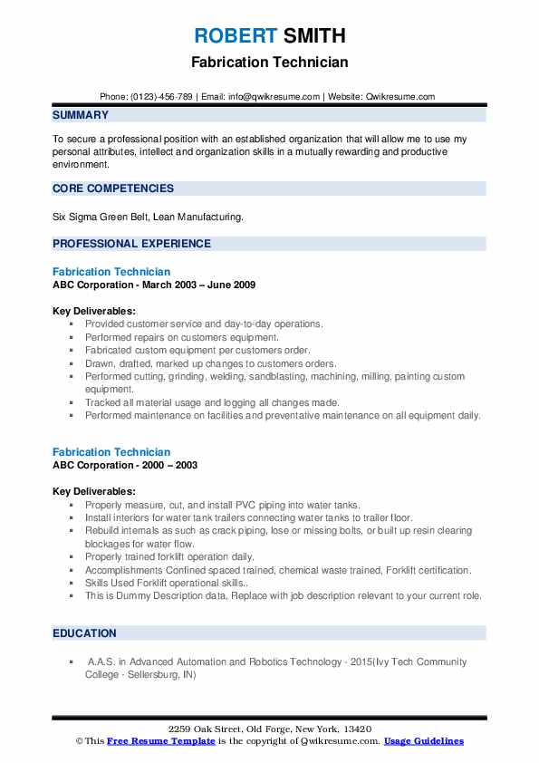 Fabrication Technician Resume Samples | QwikResume