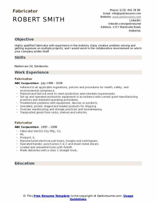 Fabricator Resume Sample
