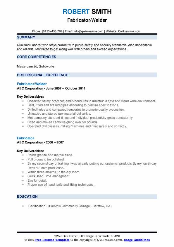 Fabricator/Welder Resume Sample