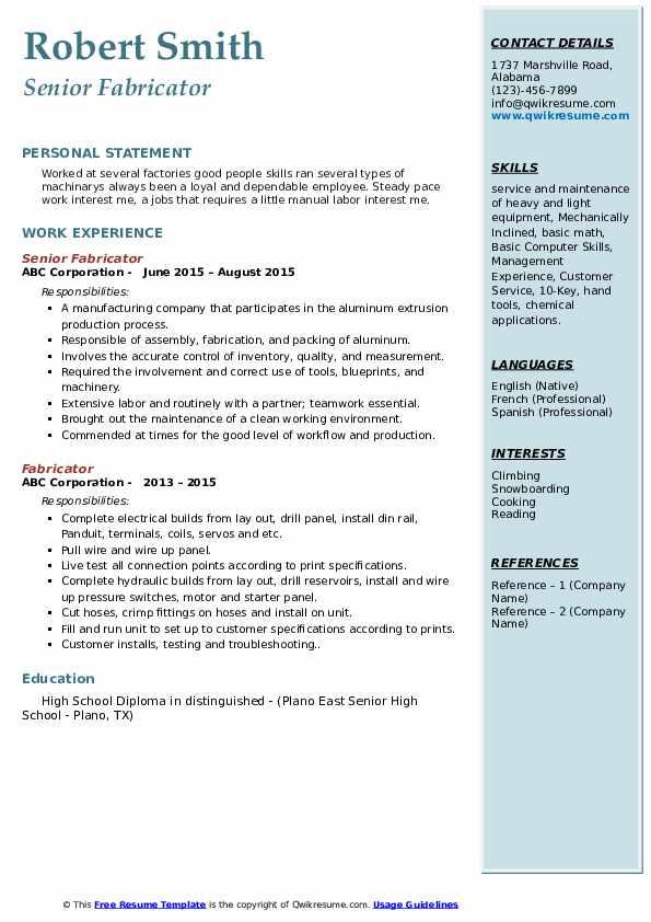 Senior Fabricator Resume Example