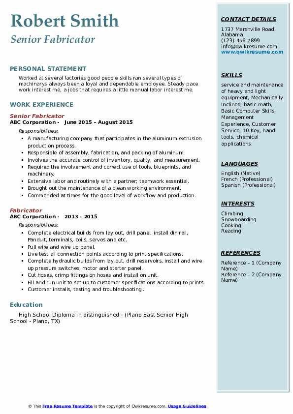 Fabricator Resume Samples | QwikResume