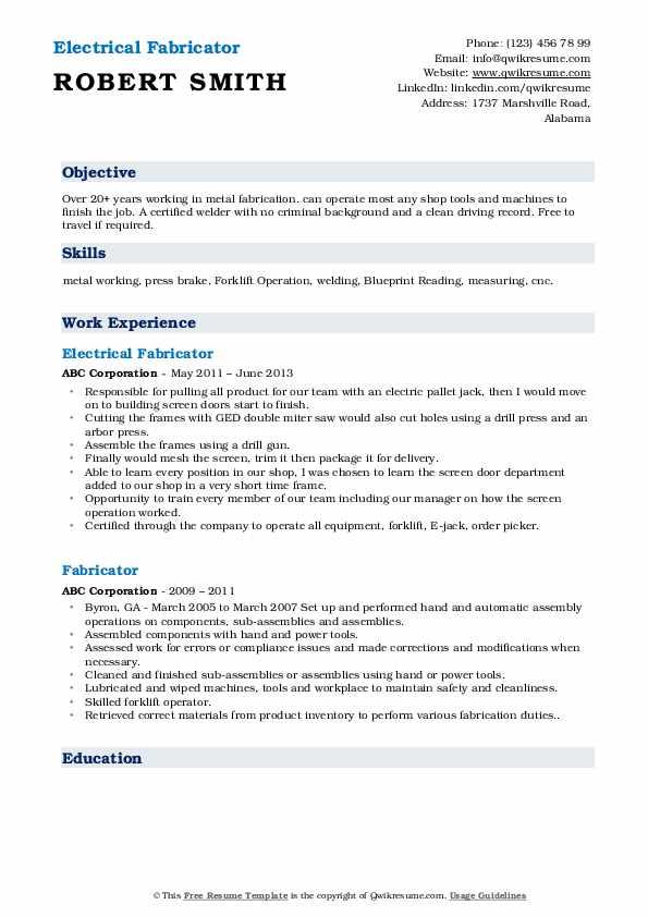 Electrical Fabricator Resume Example