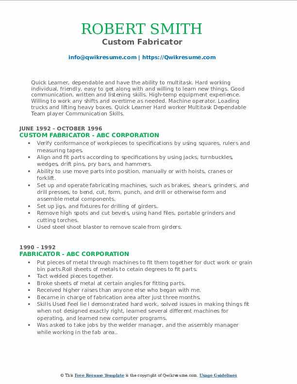 Custom Fabricator Resume Sample