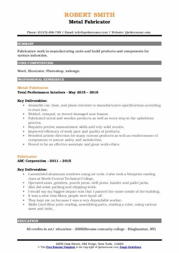 Metal Fabricator Resume Format