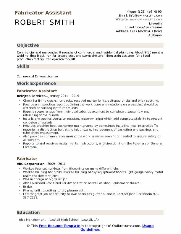 Fabricator Assistant Resume Model