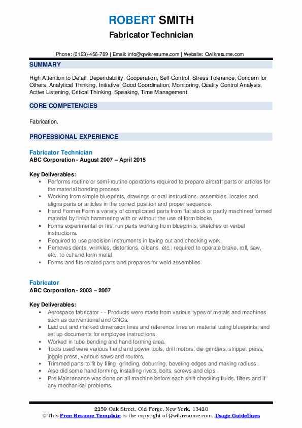 Fabricator Technician Resume Model
