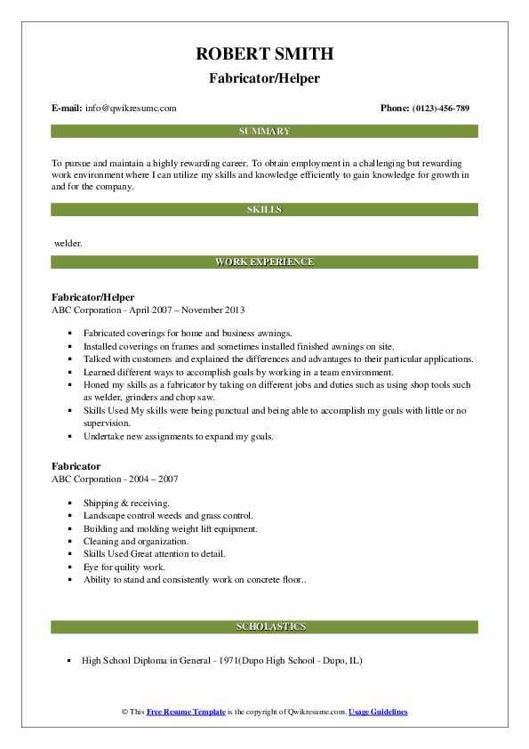 Fabricator/Helper Resume Model