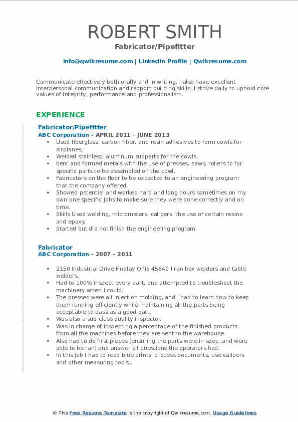 Fabricator/Pipefitter Resume Sample