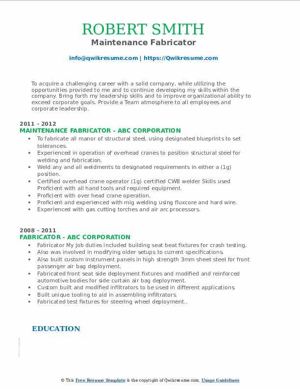 Maintenance Fabricator Resume Format