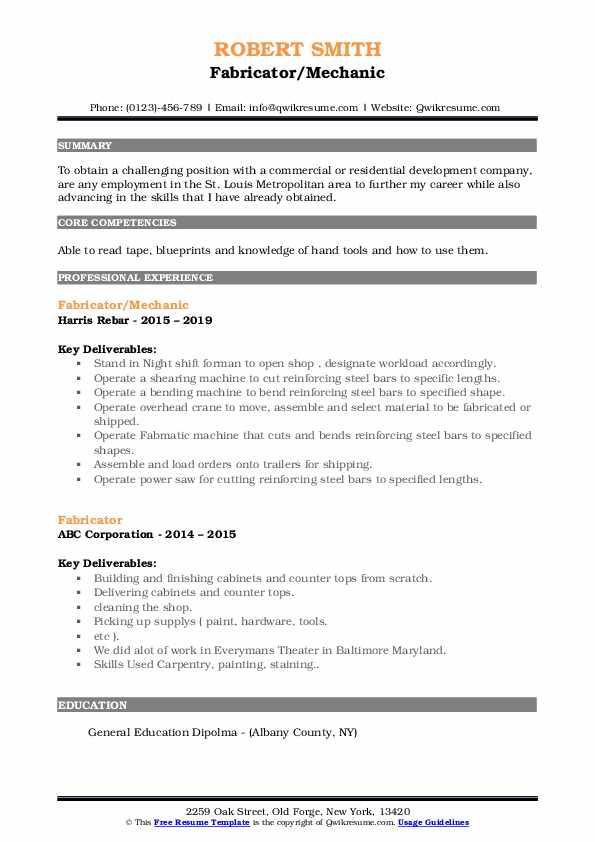 Fabricator/Mechanic Resume Example