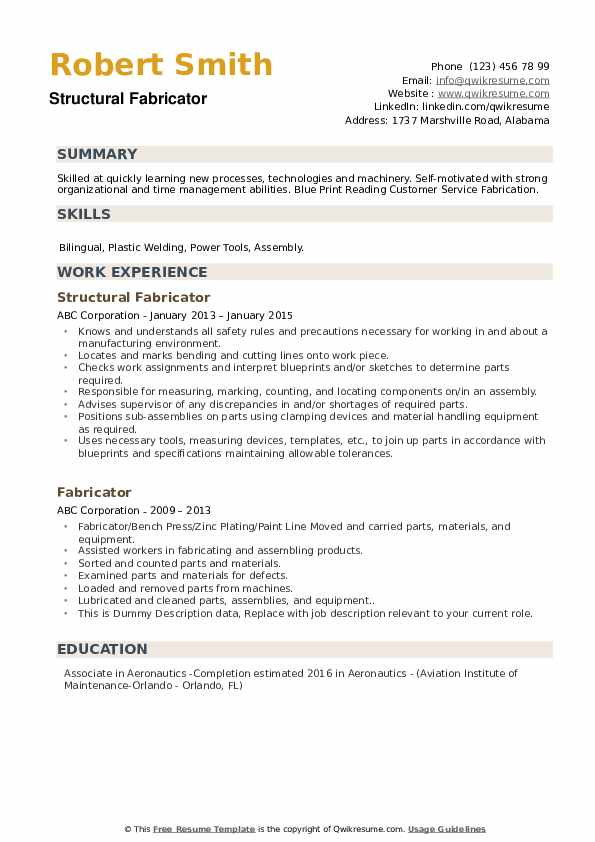 Structural Fabricator Resume Example