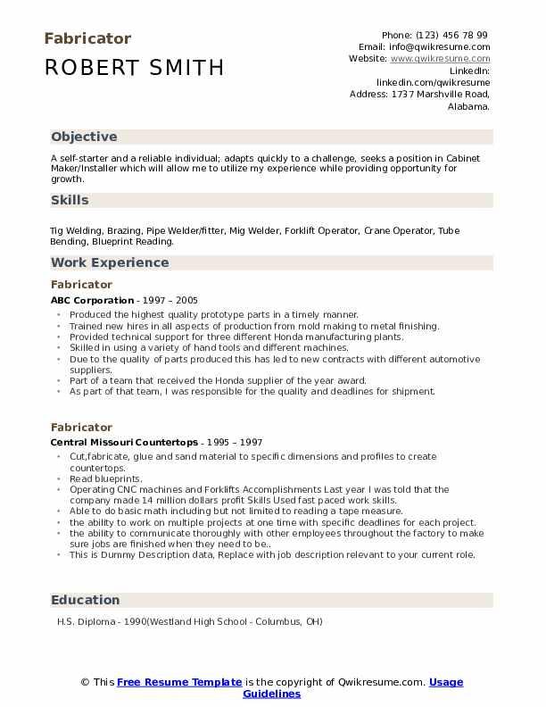 Fabricator Resume example