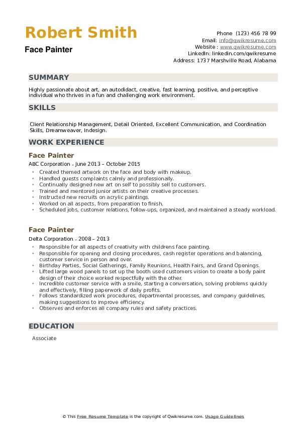 Face Painter Resume example