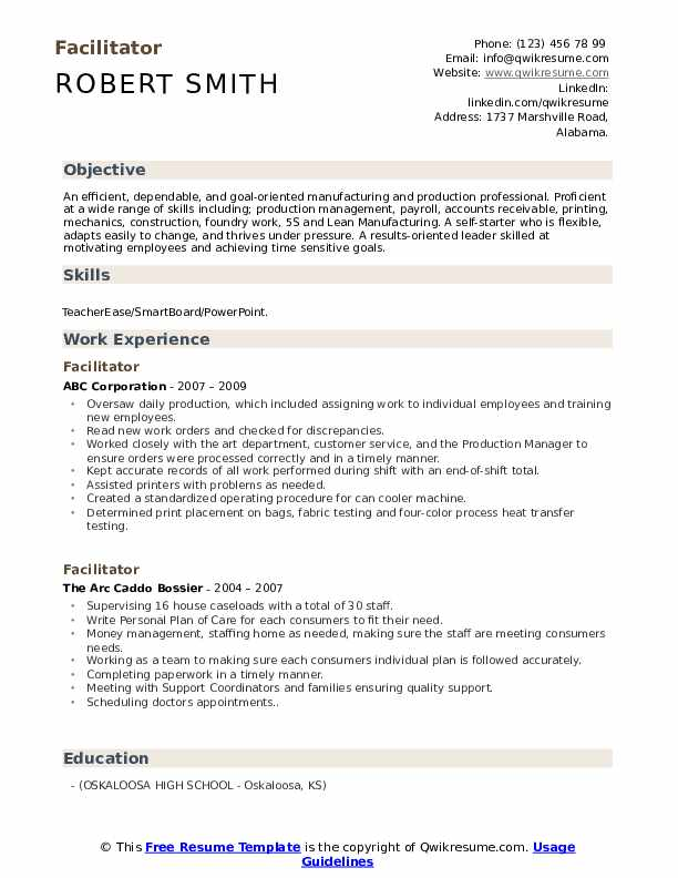 Facilitator Resume Model