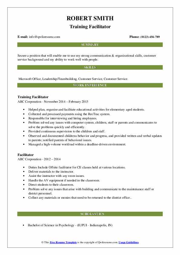 facilitator resume samples