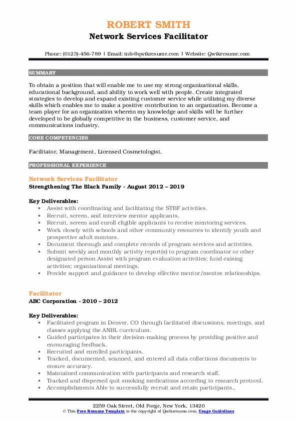 Network Services Facilitator Resume Template