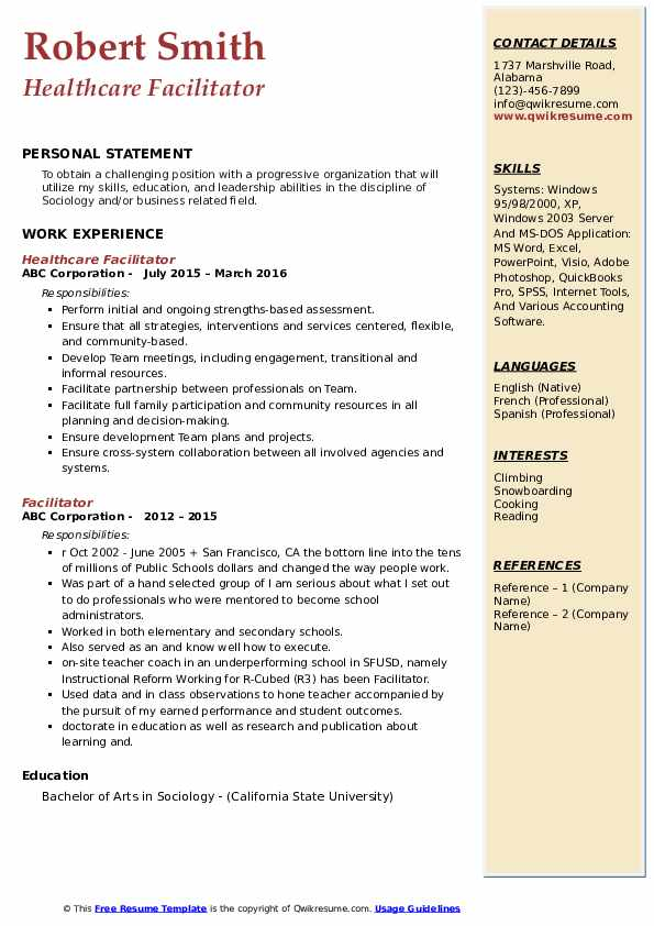 Healthcare Facilitator Resume Model