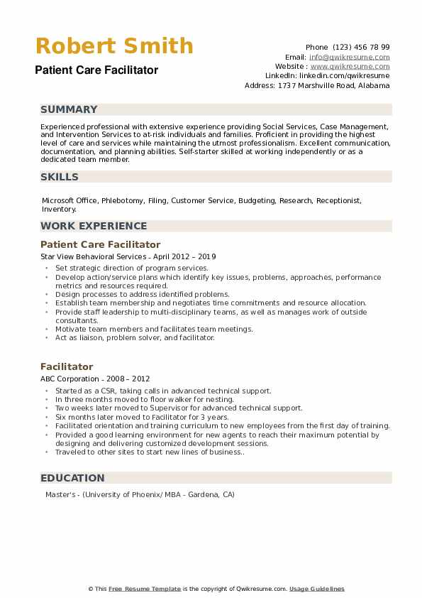 Patient Care Facilitator Resume Model